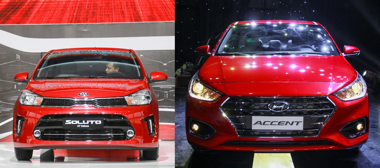 So sánh xe Kia Soluto 2019 và Hyundai Accent 2019 về đầu xe
