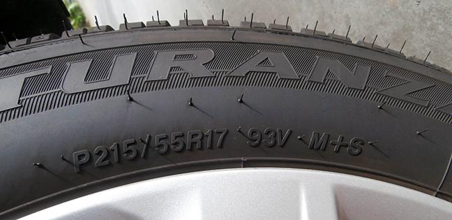 Kí hiệu lốp trên dòng sản phẩm Bridgestone Turanza.